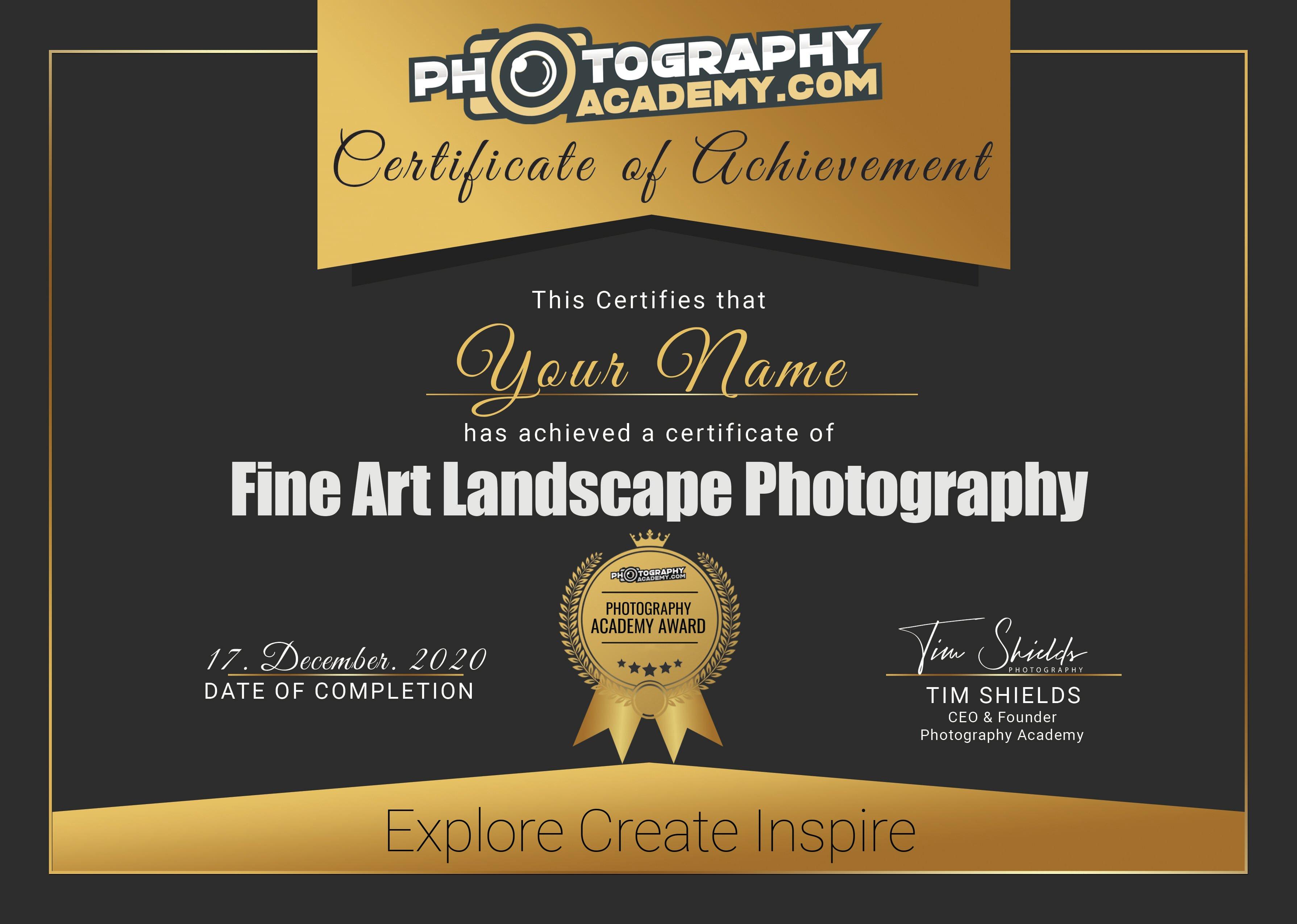 fine certificate landscape recognized